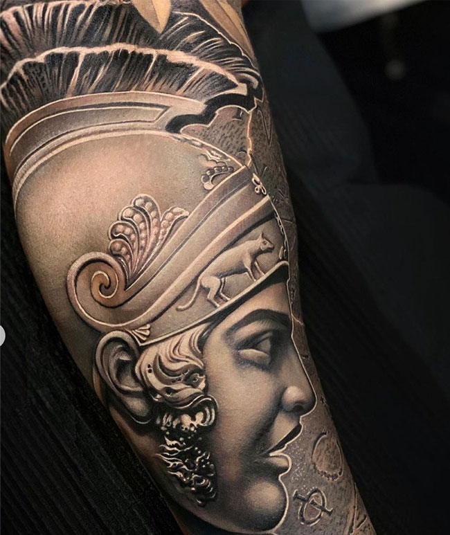 Tattoo-sleeve-romeinse-krijger