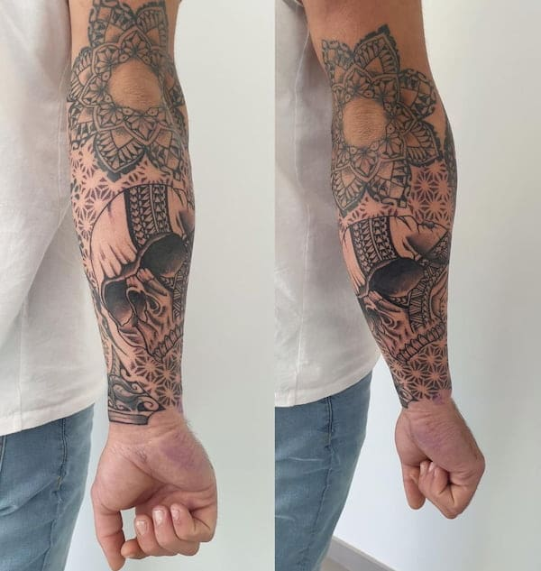 tribal tattoo onderarm man