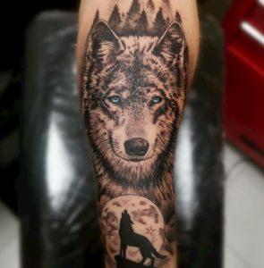 tattoo wolf onderarm
