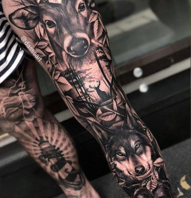 tattoo-onderbeen-man-wolf