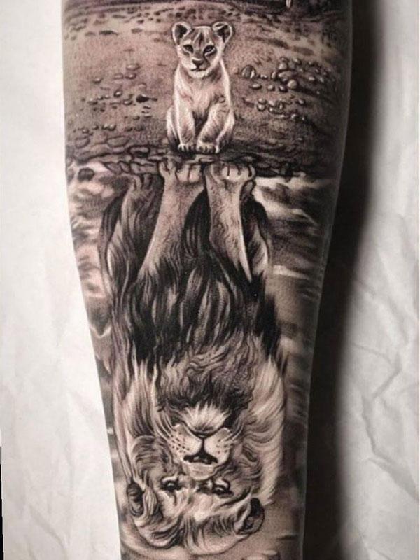 Tattoo-leeuw-en-welp
